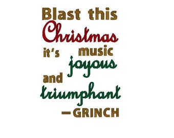 Christmas Grinch Wording - Embroidery Design - 5x7 - Machine Embroidery - Designs - 6x10 - Instant Download