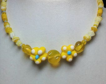 Little Girl's Necklace yellow flowers
