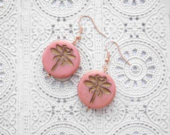 DRAGONFLY earrings rosegold vintage