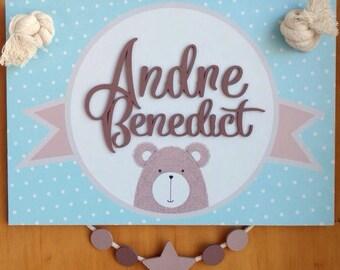 Welcome sign Baby, door pendant, hospital sign nursery hanging Doorsign