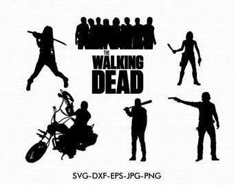 Walking Dead silhouettes svg, Walking Dead silhouette clipart EPS png jpg files. svg dxf for Silhouette Cameo or Cricut