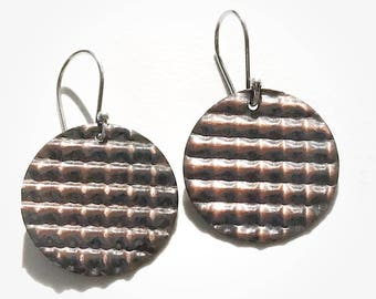 Copper Corrugated Earrings