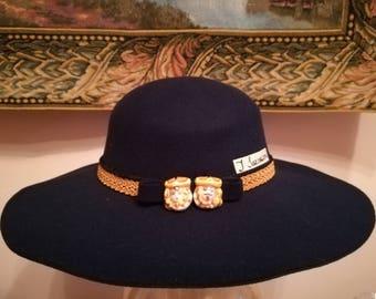 Blue Wide flap hat