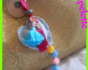 Tassel and denim heart bag charm