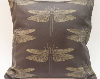 Modern Cushion Cover Digitally Printed in Detailed Dragonfly Aubergine Pattern Made from 100% Cotton