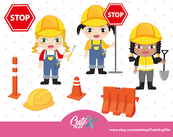 Construction Clipart Girl Girls Kids Party