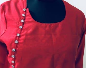 Red colour silk kurti, indian ethnic silk kurti