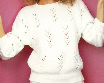 Ladies White Jumper, Knitted Pattern, Instant Download.
