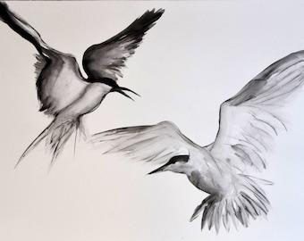 Birds ink Paint original. watercolour art. Original Watercolour. Flying birds.
