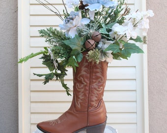 Cowboy Christmas Centerpiece, Rustic Cowboy Boot Centerpiece, Cowboy Boot Floral Arrangement, Cowboy Wreath, Christmas Centerpiece