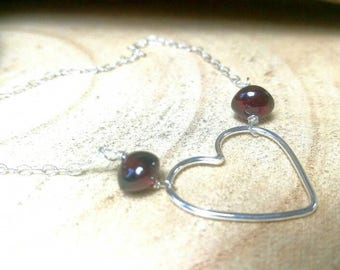 Sterling Silver and Garnet Heart Necklace. Handmade