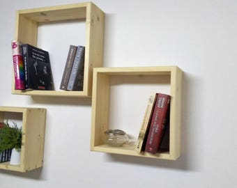 square cube wall shelve in solid pine wood group of 3 cube wall shelves