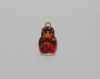 2 pendant Russian doll enamel red Pink Tulip - Ref: