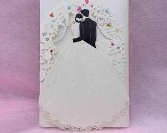 Embossed Groom and Bride Laser Cut Invitation, Wedding Invitation,
