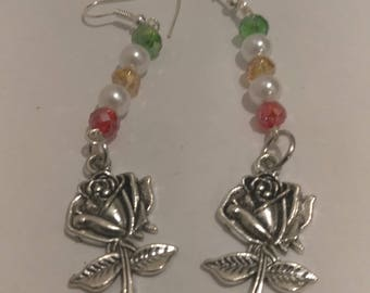 Rose EaringsMulti Colored Beads