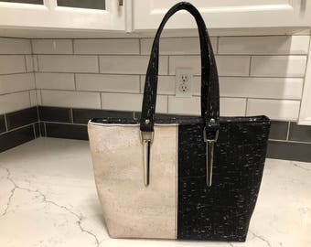 Classy and stylish  black and white cork Miss Maggie Handbag
