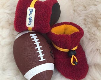 Maroon and gold non-slip soft sole shoe from Toggle Toes, Minnesota college football, infant 4-12 months or baby shoe size 1-4