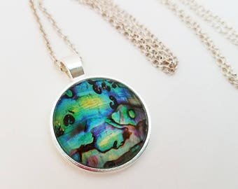 Abalone Seashell Necklace Glass Cabochon Jewelry Mermaid Pendant Pink Blue Green Turquoise Photo