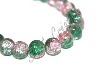 40 10mm light pink and green Crackle glass beads