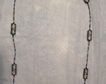 36 inch Cloisonne and seed bead necklace