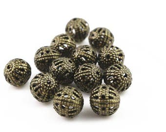 50 8mm bronze metal beads