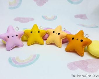 Polymer clay star charm Planner charm Stitch Marker Keychain Kawaii Cute Handmade Gift