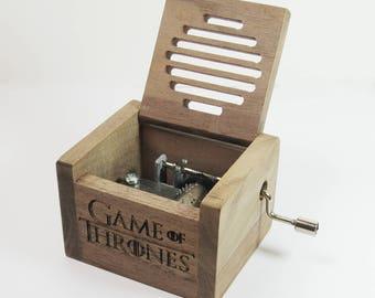 Handmade nature wood hand crank music box Game of Thrones