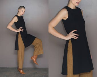 1960s Vintage Wool Butte Knit High Slit Tunic / Dress / Top