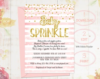 Rose Pink Baby Sprinkle Invitation, Baby Sprinkle Invitation, Baby Shower Invite, Girl Baby Shower, Gold Baby Shower,  Instant Download