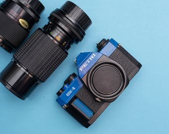 Petri GX-1 (Blue)  + 2 Lens Analog 35mm SLR Camera