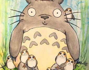 Totoro with Porgs 11 X 17 print inspired by Miyazaki / Studio Ghibli / Star Wars