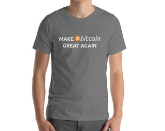 Bitcoin Shirt Men Women, BTC logo T-shirt, Make Bitcoin Great Again, Hodl Cryptocurrency Coins, Bitcoin Hodler Miner Trader Investor Gift