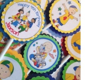 24 Personalized Caillou Cupcake Toppers - Caillou Birthday