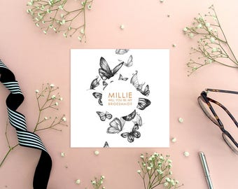 Personalised Butterfly 'Will You Be My Bridesmaid?' Greeting Card, Wedding Card, Wedding Stationery, Bridesmaid Proposal, On The Day Card
