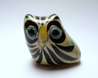 Vintage Decorative Owl Figurine Mexico Hand Painted Folk Art Pottery Clay Signed For Collectors