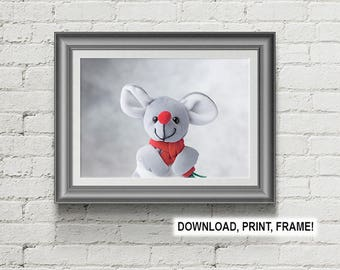 Mouse print, Peekaboo Mouse, Baby room decor, Wall art,Mouse poster, Downloadable print,  Nursery Room Wall Art, Baby room art