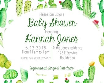 Cactus Watercolor Shower Invite