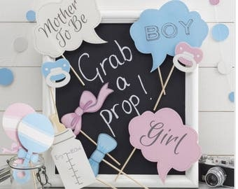 Baby Photo Booth Props - Little Lady Or Mini Mister/baby shower/gender reveal party