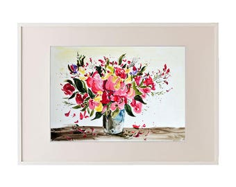 Original watercolor painting Flower