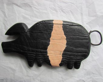 painted wooden pig