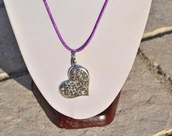 (choice of color) satin cord + silver openwork heart pendant