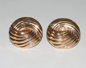 """Vintage Estate 14K Yellow GoldSwirled Statement Omega Back Earrings 9.58 Grams 29mm or 1 1/8"""""""