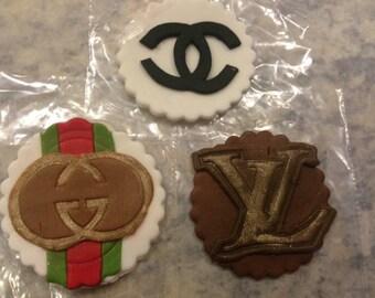 Fashion Fondant cupcake toppers.Chanel cupcake toppers.Gucci cupcake toppers.Luis Vuitton cupcake toppers.Fondant cupcake toppers