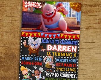 Captain Underpants Invitation, Captain Underpants Invite, Captain Underpants Birthday Invitation, Captain Underpants Birthday Party Invite