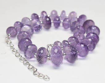 """270 CARATS Natural Amethyst Huge Faceted Beads Necklace Size- 10x To 16 mm , 12"""" Inches Code-42"""