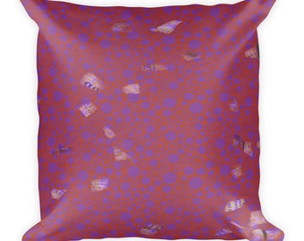 Red And Purple Graffiti Accent Square Pillow
