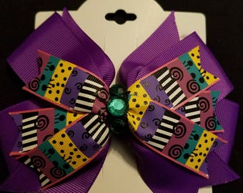Nightmare before christmas Sally inspired hair bow.