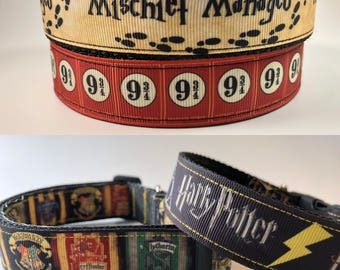 "Handcrafted 1"" Harry Potter Dog Collar"