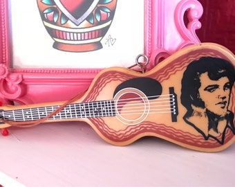 Vintage Elvis Presley Souvenir Guitar Shaped Hair Brush 1970s