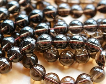 8mm Smoky Quartz natural stone beads, half strand, round, 80113